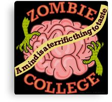 Funny Zombie College Cartoon Logo Canvas Print