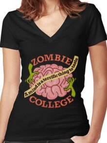 Funny Zombie College Cartoon Logo Women's Fitted V-Neck T-Shirt