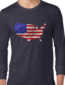 USA Flag Country Outline Long Sleeve T-Shirt