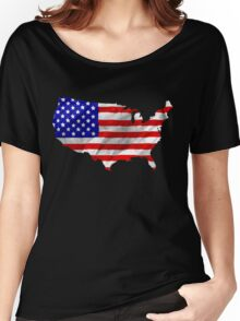 USA Flag Country Outline Women's Relaxed Fit T-Shirt