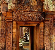 Door of Banteay Srei Temple - Angkor, Cambodia. by Tiffany Lenoir