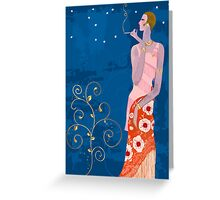 Stylish smoking lady Greeting Card