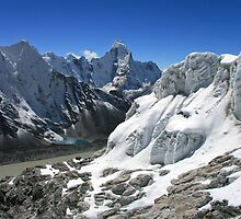 Glacial Lakes and Ama Dablam from Island Peak by Richard Heath
