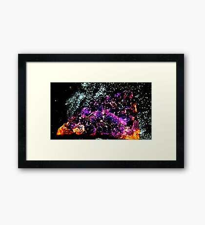 Ametrine cluster with copper minerals  (Citrine and Amethyst ) Framed Print