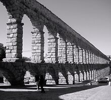 Ancient Roman Aquaduct in Segovia, Spain by tandyphotoraphy