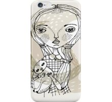little girl with a little animal iPhone Case/Skin