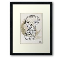 little girl with a little animal Framed Print