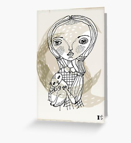 little girl with a little animal Greeting Card