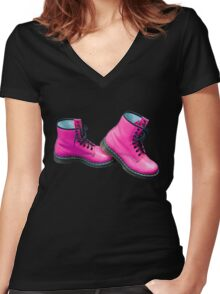 Hot Pink Safety Boots Women's Fitted V-Neck T-Shirt