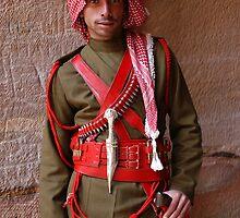 Guard at Petra, Jordan by Julie Waller