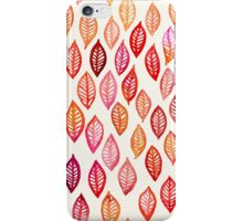 Watercolor Leaf Pattern in Autumn Colors iPhone Case/Skin
