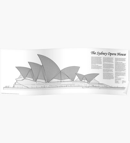 Sydney Opera House Architectural Drawing Poster