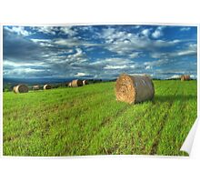Hay Bales and Clouds Poster