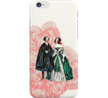 vintage couple pink damask iPhone Case/Skin