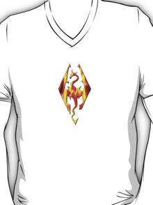 Skyrim Logo On Fire T-Shirt