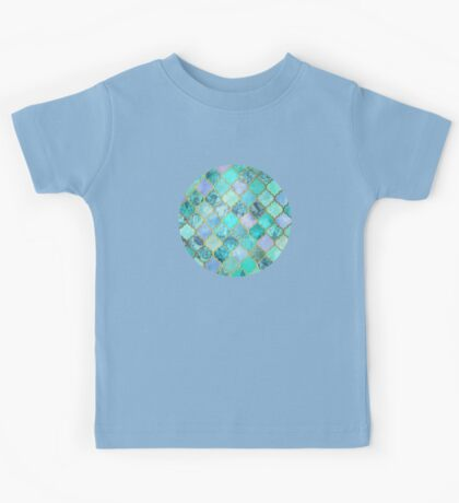 Cool Jade & Icy Mint Decorative Moroccan Tile Pattern Kids Tee