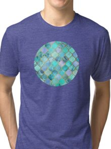Cool Jade & Icy Mint Decorative Moroccan Tile Pattern Tri-blend T-Shirt