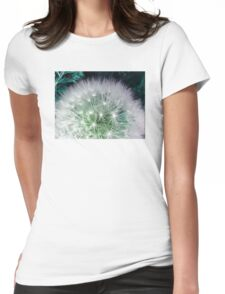 Cool white dandelion with waterdrops Womens Fitted T-Shirt