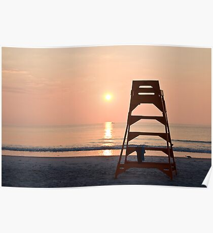 Life Guard Stand at Sunrise Poster