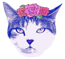 vintage cat with flowers by RonAleksandra