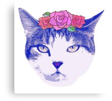 vintage cat with flowers Canvas Print