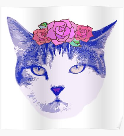 vintage cat with flowers Poster