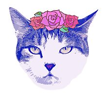 vintage cat with flowers Photographic Print