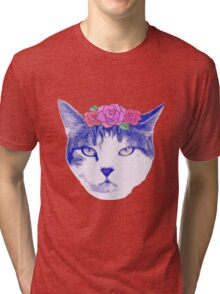 vintage cat with flowers Tri-blend T-Shirt