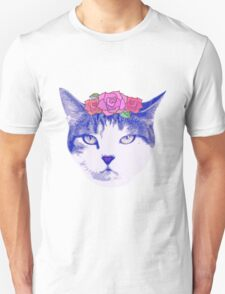 vintage cat with flowers Unisex T-Shirt