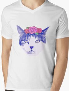 vintage cat with flowers T-Shirt