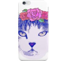 vintage cat with flowers iPhone Case/Skin