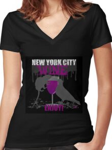 NEW YORK CITY WINE - ENJOY! Women's Fitted V-Neck T-Shirt