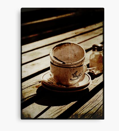 Dirty coffee cups in sepia with texture Canvas Print