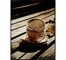 Dirty coffee cups in sepia with texture Photographic Print