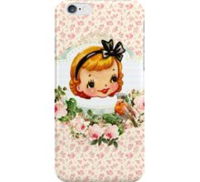 sweet retro vintage cartoon girl floral iPhone Case/Skin