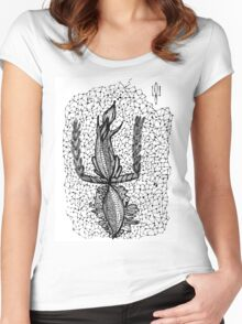 Doodle squirrel, Ukrainian symbol coat of arms Women's Fitted Scoop T-Shirt