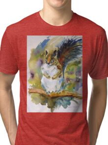 Squirrel in a Posey Patch Tri-blend T-Shirt
