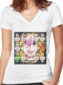 glitch statue Women's Fitted V-Neck T-Shirt