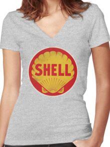 Shell retro Women's Fitted V-Neck T-Shirt