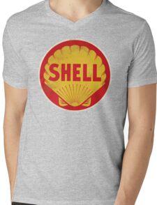 Shell retro Mens V-Neck T-Shirt