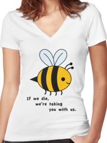 Sacrificial Bees Women's Fitted V-Neck T-Shirt