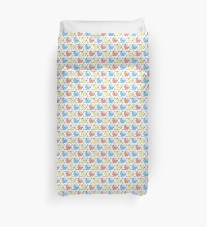 Primary Hexagons and Cubes Design Duvet Cover