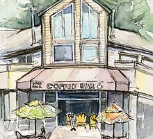 Coffee Shop Urban Watercolor Sketch by OlechkaDesign