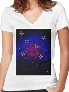 Butterflies at Night Women's Fitted V-Neck T-Shirt