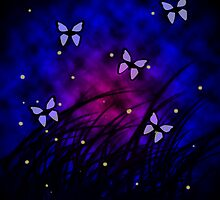 Butterflies at Night by ValeriesGallery