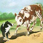 Australian Shepherd Cowdog~ Oil Painting by Barbara Applegate