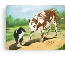 Australian Shepherd Cowdog~ Oil Painting Canvas Print