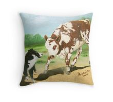Australian Shepherd Cowdog~ Oil Painting Throw Pillow