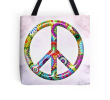 Cool Retro Flowers Peace Sign - T-Shirt and Stickers Tote Bag
