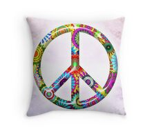 Cool Retro Flowers Peace Sign - T-Shirt and Stickers Throw Pillow